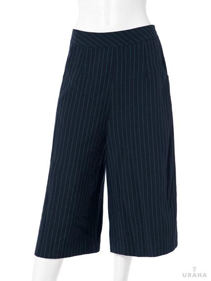 時髦配色細條紋七分寬褲