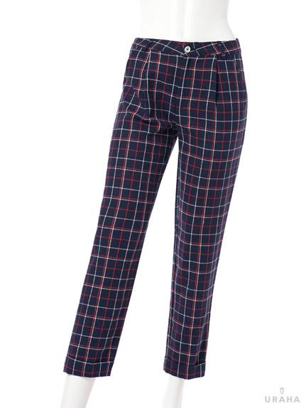 簡約線條格紋長褲