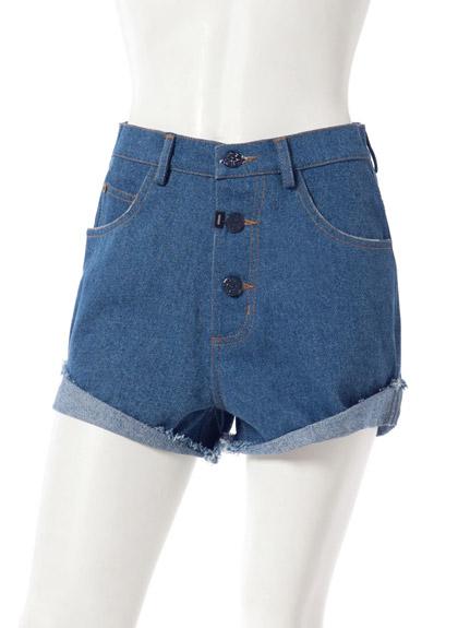 圖騰造型牛仔短褲