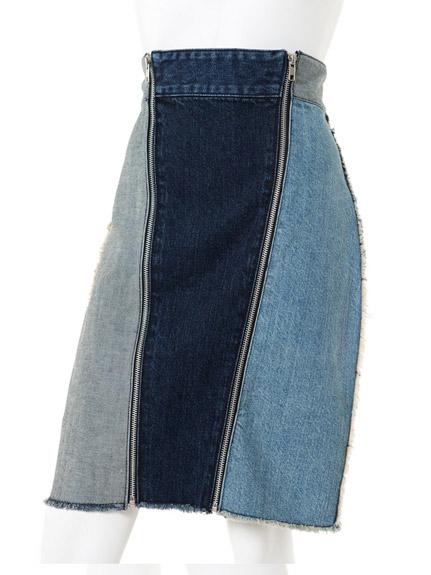 造型拉鍊拼接牛仔窄裙