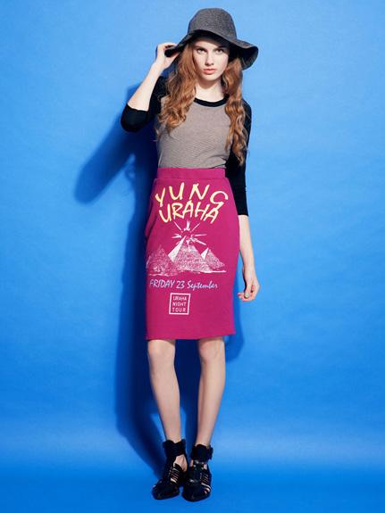 金字塔設計感棉質直筒裙