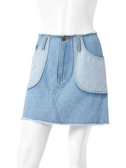 剪接設計A字牛仔短裙