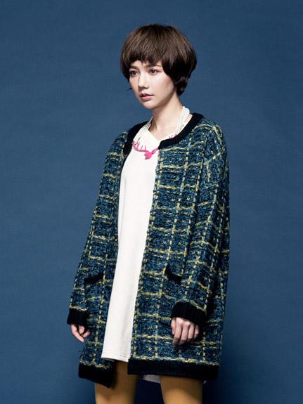 混色針織格紋外套
