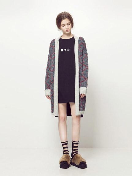 菱格紋針織外套