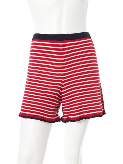 條紋雙口袋針織短褲