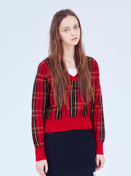 短版格紋毛衣