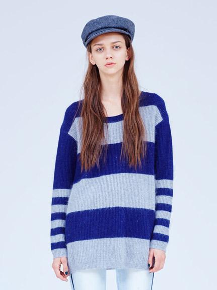 橫條拼接寬鬆休閒毛衣
